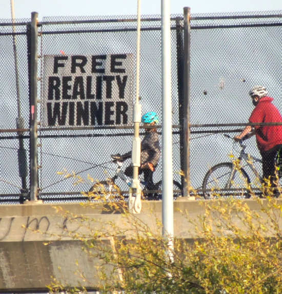 First Amendment protected sign on an SF Bay Area freeway.