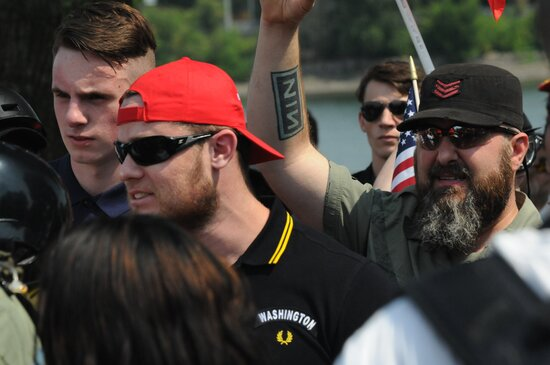 Ethan Nordean with two white nationalists