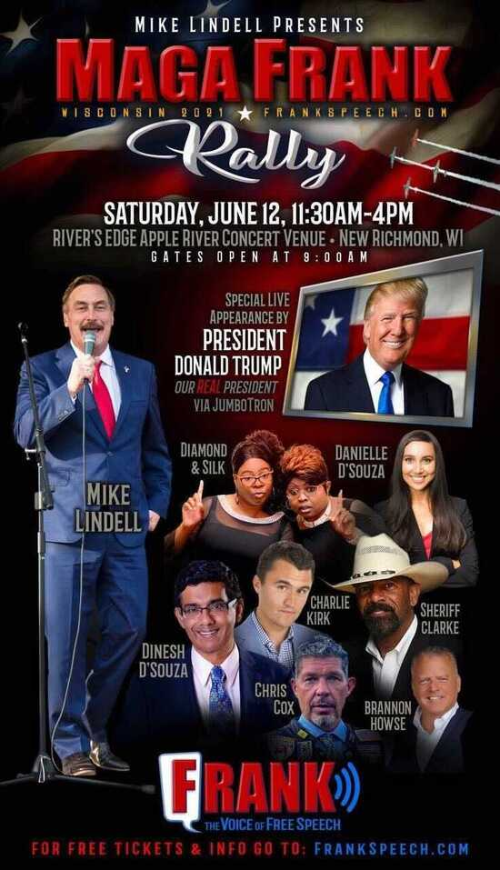 Promotional image showing Mike Lindell headlining a GOP scammers tour