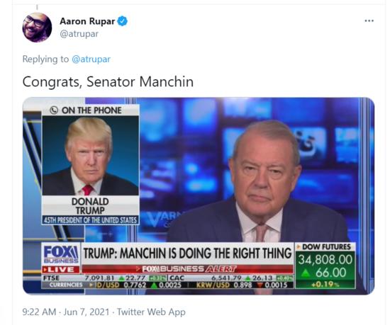 "Fox News chyron: ""Trump: Manchin is doing the right thing."""