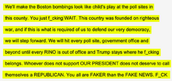 Text of a threatening email sent to poll workers in at least 11 Georgia counties.