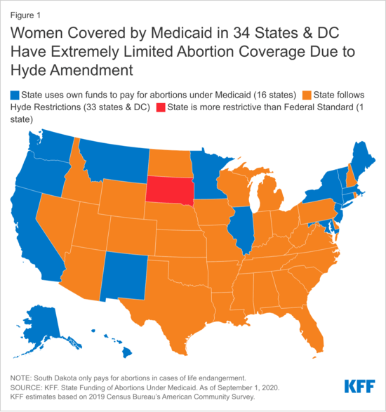 Map showing Hyde abortion restrictions on Medicaid in 33 states
