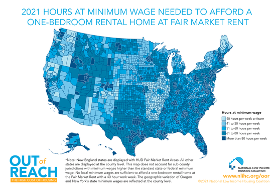 Map showing the number of hours at minimum wage needed to afford a one-bedroom rental home at fair market rent.