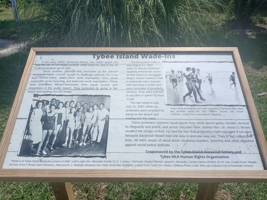A picture of one of the plaques commemorating the Tybee wade-ins