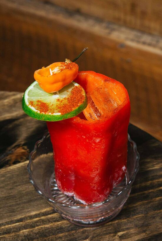 Hell on Wheels - A brunch cocktail in a hollowed out pepper.