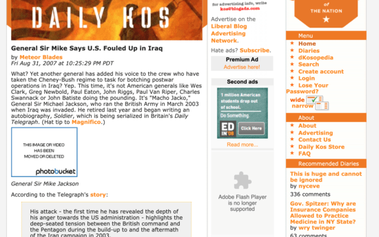The 2007 Daily Kos format with three vertical columns and the orange flag man across the top left.