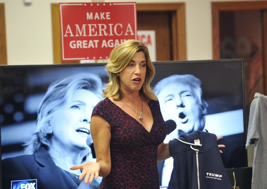 URBANDALE, IA - SEPTEMBER 26: Senior Trump Advisor, and former Apprentice contestant Tana Goertz warms up the crowd prior to the start of the first of three presidential debates between Hillary Clinton and Donald Trump, on September 26, 2016 at the Trump headquarters in Urbandale, Iowa. People across the country tuned in as Republican Presidential candidate Donald Trump and Democratic candidate Hillary Clinton participated in their first debate. (Photo by Steve Pope/Getty Images)