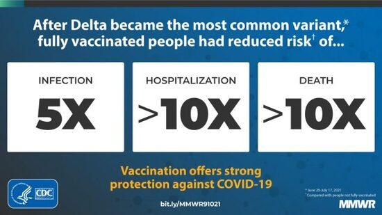 Vaccinated people are much less likely to get sick from delta.