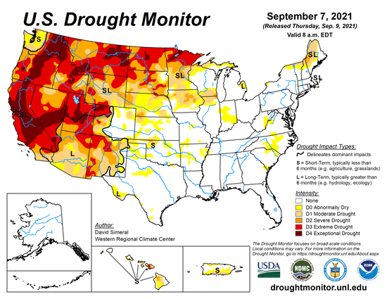 Almost all of California and much of the western U.S. is under the worst 2 drought categories, extreme and exceptional drought.