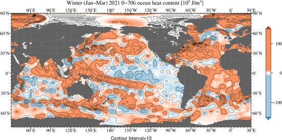 Global oceanic heat content anomaly for Jan - Mar 2021.