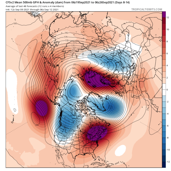 Intense Scandinavian ridging for Late September 2021 shown on the 8 to 14 day forecast by the CFS model.