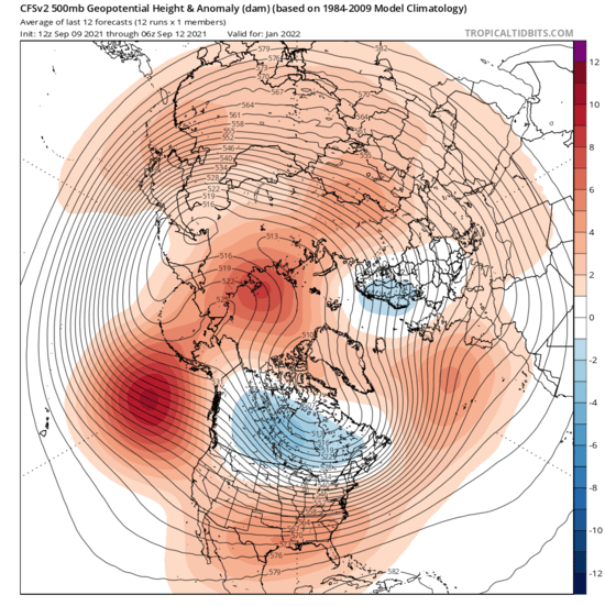 The American GFS model forecasts polar vortex disruption in both the stratosphere and the troposphere (shown here) to begin in January 2022.