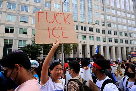WASHINGTON, DC - SEPTEMBER 21: Thousands of demonstrators rally in the street outside Immigration and Customs Enforcement headquarters while demanding a pathway to citizenship for the more than 11 million undocumented immigrants living in the United States on September 21, 2021 in Washington, DC. Activists, union leaders, organizers and political leaders addressed the marchers as they rallied outside ICE headquarters and the U.S. Capitol. (Photo by Chip Somodevilla/Getty Images)