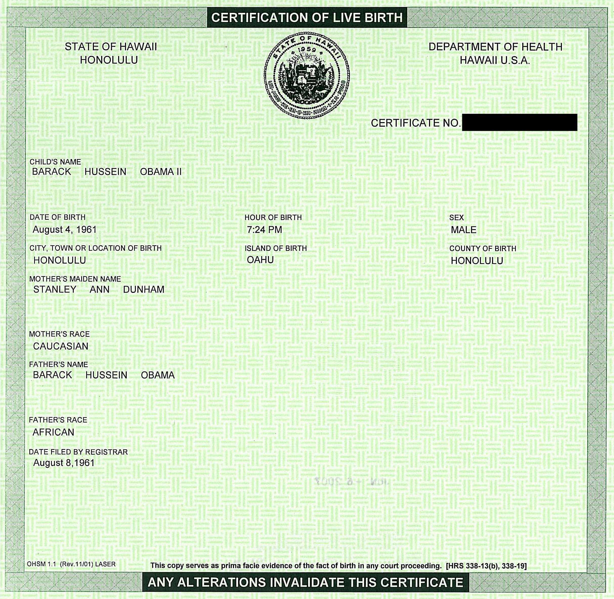 ... Birth Certificate, While I Analyzed The Large One Found At DailyKos.  Mock Birth Certificate